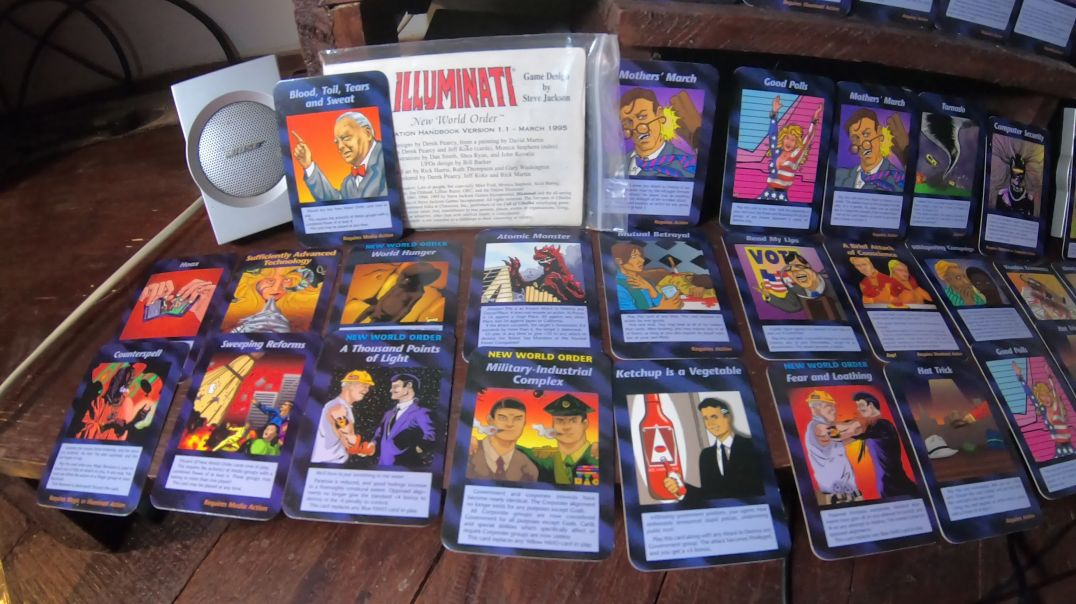 illuminati card game i bought years ago. It predicts exactly what`s going on in the world today.